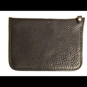 Alexander Wang Black Leather Zip Pouch Rose Gold